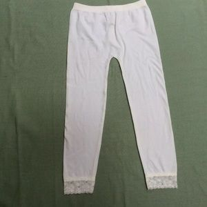 Ambiance Women's Leggings White Lace Trim